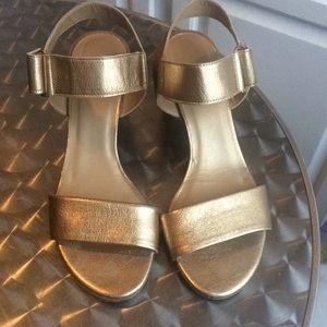 Stuart Weitzman Gold sandals w/Velcro closings